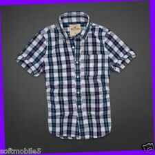 Hollister Co. SMALL S Mens Dudes NAVY & WHITE PLAID Fletcher Cove Shirt