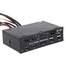 "5.25"" PC Media Dashboard Front Panel eSATA SATA USB 3.0/2.0 Card Reader G0O4"