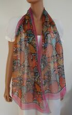 "NWOT Auth LIBERTY OF LONDON ""PEACOCK GARDEN"" 100% Silk Chiffon Long Scarf Oblong"