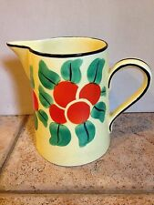 VINTAGE DITMAR URBACH CZECH BOHEMIAN ORANGES SQUATTY PITCHER MARKED CHIP CRACK