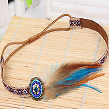 Chic Bohemian Beads Feather Floral Ribbon Elastic Headbands Stretch Hair Bands