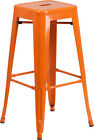 30'' High Backless Orange Metal Restaurant Bar Stool- Industrial Style Bar Stool