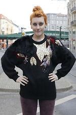Flam Damen Pullover schwarz black 80er True VINTAGE 80´s women Schulterpolster