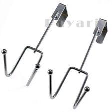 New Heavy Duty Stainless Steel Over The Door Hooks Overdoor Cloth Hanger 2 Pc