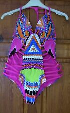 ladies costume size 12 sexy tribal print pink orange cut away costume