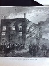 J1-6 Ephemera 1863 Folded Picture Fire At The Town hall Chester