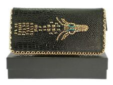 New Black Clutch Bags Mixed Zebra Suede F Leather Hard Case Wedding Evening Prom