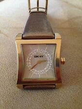 DKNY Watch Brushed Gold with Bronze Metalic Leather Strap