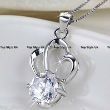 925 Sterling Silver Crystal Necklace Pendant Xmas Gift for Girlfriend Mum Wife