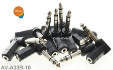 """10-Pack, 3.5mm Stereo Female to 1/4"""" Stereo Male Right Angle Audio Adapter"""