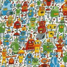 Per ½ Metre - Nutex RAINBOW ROBOTS Fabric - Kids Robot Themed Cotton