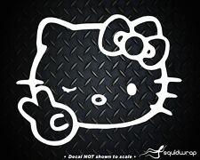Hello Kitty Peace Sign Winking Bow Car Wall Vinyl Window Decal Decals Sticker 5""