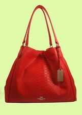COACH 35340 EDIE Watermelon Python Embossed Leather Shoulder Bag Msrp $650.00