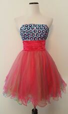 Aspeed Strapless Dress Hand Beaded Pink Blue Yellow Tulle Sequin Ruched Prom M