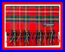 100% Cashmere Scarf Red Green Check Plaid Scottish Tartan Wool Infinity Z316