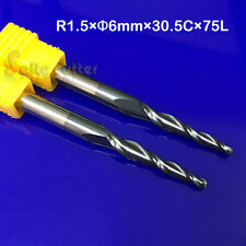 2P Carbide Tapered End Mill Ball Nose HRC55 R1.5*D6*75 2F CNC Metal Work Carving