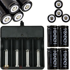 4x 3.7V CR123A 123A CR123 16340 2000Mah Rechargeable Battery BTY + UL Charger US