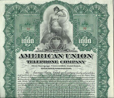 1906, American Union Telephone Company Bond, Stock Certificate