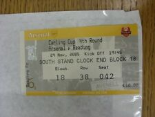 29/11/2005 Ticket: Arsenal v Reading [Football League Cup] (folded). Thank you f