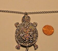 Necklace Turtle Pendant Iridescent Rhinestones Long Adjustable Chain  NWT L477
