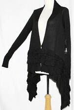 L Long Boho Steam Punk Goth Emo Gothic Lolita Cardigan Gypsy Ruffle Sweater Top