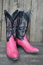 Tony Lama Cowboy Boots Lizard skin leather Size 5.5 M Pink Black rodeo cowgirl
