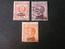 *ITALIAN SOMALILAND, SCOTT # 83+86+89(3),STAMPS OF ITALY OVPT  ISSUE USED