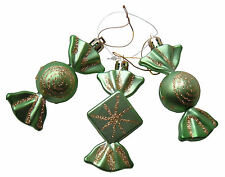 Christmas Tree Baubles Lime Green & Gold Sweet Candy Ornaments,Set 3 Decorations