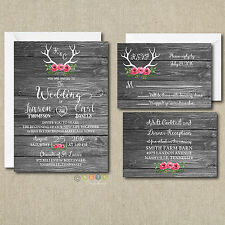 100 Floral Rustic Antler Wedding Invitation Wood Suite with Envelopes