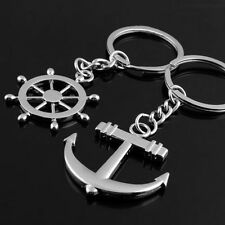 Couple Love Fashion Anchor Rudder Crystal Metal Key Chain Favorite Ring Keychain