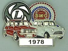 BMC / LEYLAND  MINI  PIN BADGE. YEARS 1959 TO 1977-- CHOICE OF YEARS -