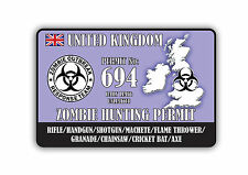 zombie hunting permit uk Car Sticker size 15cm x 10cm