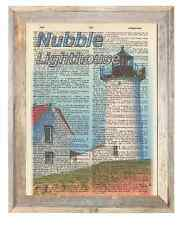 Nubble Lighthouse Maine Altered Art Print Upcycled Vintage Dictionary Page