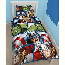 MARVEL AVENGERS SHIELD 2 IN 1 SINGLE DUVET COVER SET HULK THOR CAPTAIN AMERICA