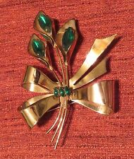 Vintage Coro-Craft Sterling Broach Pin Green Stones