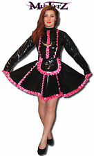 MISFITZ BLACK PVC & HOT PINK SATIN  FRILLY SISSY FRENCH MAIDS DRESS SIZE 20