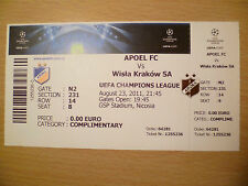 UEFA Champions League TICKET- APOEL FC v WISLA KRAKOW SA, 23 August, 2011