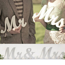 Mr and Mrs White Letters Sign Wooden Standing Top Table Wedding Decoration Props