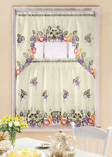 GRAPEVINE PRINTED KITCHEN WINDOW CURTAIN SET, COMPLETE TIER & SWAG SET