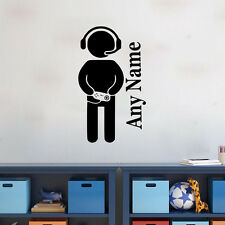 Gamer Player Vinyl Wall Sticker Custom Any Name Boys Bedroom Decal Home Decor