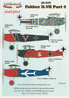 LIFELIKE DECALS FOKKER D.VII Pt.4 1/32 for WINGNUT WINGS *FREE POSTAGE WITH KIT*