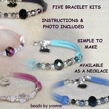 FIVE FAUX SUEDE HEART CHARM BRACELET KITS CRYSTAL BEADS JEWELLERY CRAFT MAKING