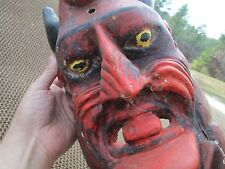 WOW! Vintage Folk Art Wood Devil Demon Satan Deer Wall Mask Gothic Ceremonial