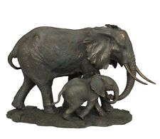 "17"" Elephant and Calf Statue Sculpture Figurine Animal Home Decor Wild Life"