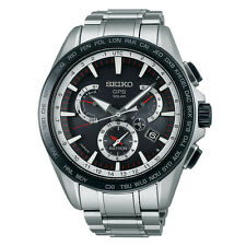 New Seiko Astron Solar GPS Dual-Time Stainless Steel Men's Watch SSE051