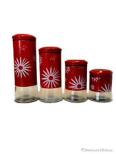 Set 4 Large Glass Kitchen Canisters w/ Red Metal Sleeves & Air Tight Lids