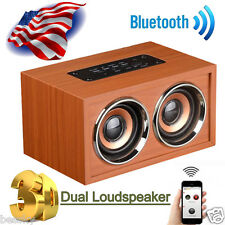 Portable Wooden Retro Wireless Bluetooth Speaker 3D Dual Loudspeaker Surround US