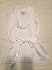 Michael Kors  White Cowl Neck Belted Sleeveless Blouse Top Elastic Waist Tunic