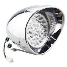 """Chrome 7"""" LED Motorcycle Bullet Headlight Front Light For Harley Bobber Chopper"""