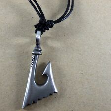 Norse Viking Tribal Hook fish Medieval Pewter Pendant with Cotton Necklace #224